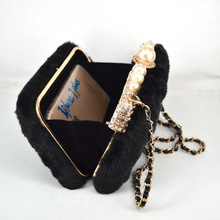 Women Wedding Party Bag Day Clutch Female Purse bag Winter New Designer Plush Black Pearl Crystal Evening Bag(China)