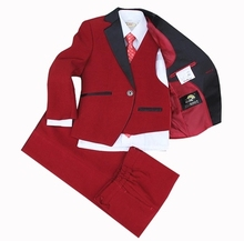 3 piece Blazers Jackets for Baby Boys Wedding Suits Red Baby Clothes Children Lounge Suit Boys Blazers suits terno infantil(China)