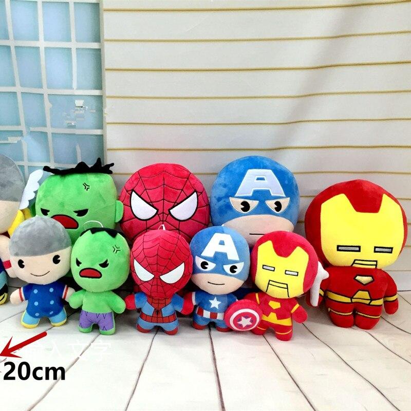One pcs Marvel Avengers 2 plush toys Iron Man Captain America Hulk Thor SpiderMan BatMan SuperMan Film soft doll gifts<br><br>Aliexpress