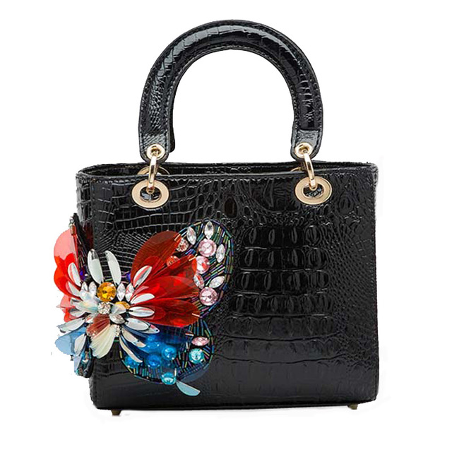 Famous Designer Brand Clutch Feminia Luxury Women Handbags Vintage Butterfly Genuine Leather Crocodile Pattern Shoulder Bag<br>