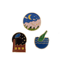 Japan and South Korea series Harajuku style enamel brooch moon planet corsage men and women Pin clothing accessories