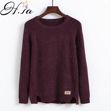 H.SA Women Winter Warm Pullovers Split Long sleeve Jumpers Solid Color Women Sweaters and Pullovers Cheap Knitwear sudaderas(China)