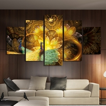 Home Wall Art Pictures Room Decor HD Printed Poster Frame 5 Pieces Golden Peacock Flower Canvas Paintings Animal Pattern PENGDA