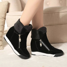 women double zipper casual shoes Autumn and winter wedges ankle boots high top leisure women's boots WSH970