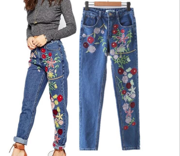 High Waist Jeans 2017 Female Newest Embroidery Flowers Washed Denim Jeans Pants Vintage Straight Casual Denim TrousersÎäåæäà è àêñåññóàðû<br><br>
