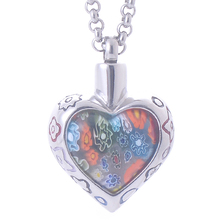 Bohemia Memorial Flower Patch murano glass Heart Pendant Necklace Stainless Steel Cremation Jewelry ash urn women perfume bottle