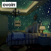 Glow Effect Night Sky Design Star And Moon Luminous Wallpaper Kids Ceiling Decor Fluorescent Wall Paper For Children Bedroom(China)