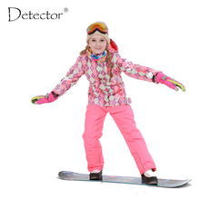 Free Shipping Winter Outdoor Children Clothing Set Windproof Ski Jackets + Pants Kids Snow Sets Warm Skiing Suit For Boys Girls(China)