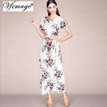 Vfemage Womens Sexy Off Shoulder Floral Print Split Sleeve Bow Belted Transparent Summer 2017 Casual Beach Loose Long Dress 6015