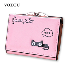 Wallet Female Cat Anime Women Purses Leather Cute Trifold Slim Wallets Short Card Holder Coin Purses Small Korean Women Wallets(China)