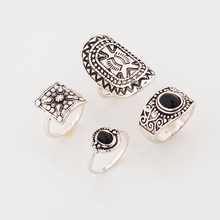 Modern Style Retro Women Ring Set for Fingers Vintage Bijioux Antique sliver Female Jewelry 3 Colors 4pcs/set