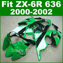2000 2001 2002 ZX6R fairings , for Kawasaki Ninja 636 green white fairing kit 00 01 02  G12F free customize bodywork