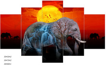 Framed Printed 5 Piece Canvas Art Elephant Animal Wall Artwork Canvas Painting Modern HD Picture For Living Room Cuadros(China)