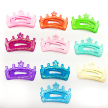10 PCS per Lot Crown Candy Color Girls Hairpin 5cm BB Clips Snap Band Hairpins Kids Hair Accessories(China)