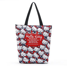 Cute Hello Kitty Cat Women Canvas Bag Tote Shoulder Bags Cartoon Girls School Book Handbag Eco Reusable Shopping Bag Zipper
