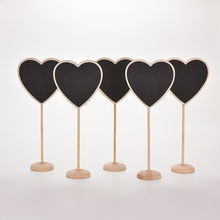 10 pcs/lot Lovely Mini Heart Wooden Chalkboard Blackboard on stick Place holder Table Number Wedding Gift(China)