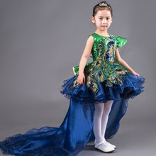 Royal Princess Dress Knee-length Ball Gown Kids Girls Dress for Wedding Birthday Costumes Show with Removable Tail