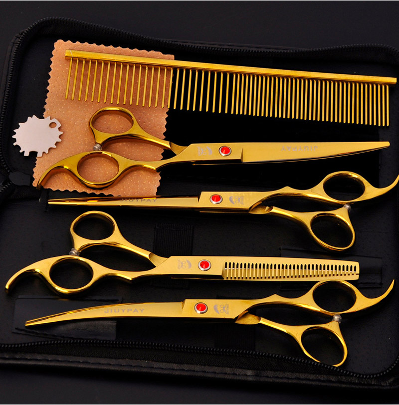 Gold Black Blue Cut Dog Hair Scissors Set tijeras 7 inch Straight Curved Thinning Shears Professional Pet Grooming Scissors Kit 7