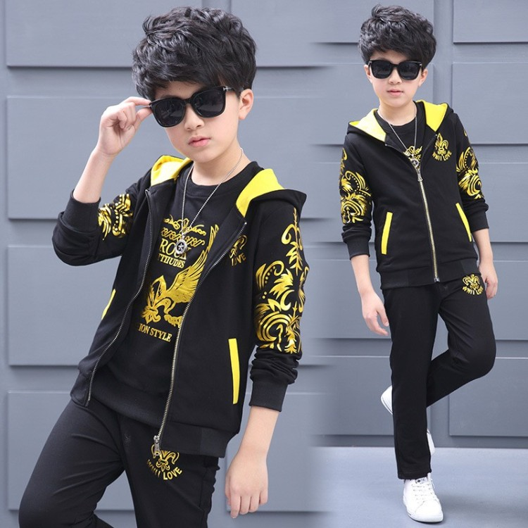 Boys Clothing Set 3pcs For Big Kids Hooded Vest Jacket T-shirt Pant Clothes Suit Childrens Sports Suit Boys Child 4-13Years Old<br>
