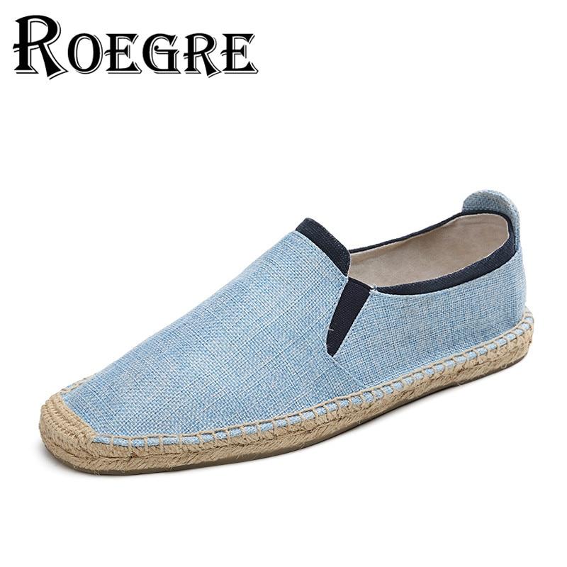 ROEGRE 2017 New Arrival Fashion Men Hemp Espadrilles Men Slip On Casual Canvas Flats Loafers Shoes Blue Grey Beige Size 39-44<br><br>Aliexpress