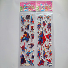 5 Sheets Set Superman Batman Superhero Stickers 3D Foam Waterproof Decal Bubble Sticker Laptop Doodle Decor Pvc toys for Kids