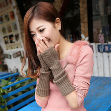 Autumn and winter new knit gloves female fish scale warm half-finger arm sleeve plus long paragraph ZIH205(China)