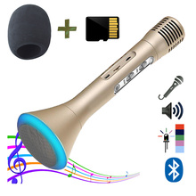 Portable Microphone Wireless Karaoke Singing Machine with Built-in Bluetooth Speaker with SD card loaded with Songs ZK1 ZaxSound(China)