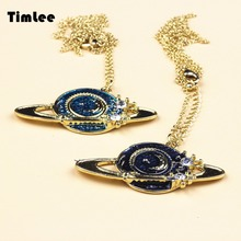 Timlee N008 Fashion Universe Planet Saturn Moon Necklace(China)