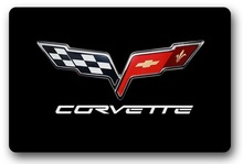 CHARMHOME Custom Doormat Corvette Door Mat Corvette Logo Carpet Outdoor Logo Mats Bathroom Rugs Doorway Mats
