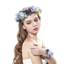 Bridal Flower Crown Women Kids Girls Flower Wreath and wrist with Ribbon Adjustable Party Wedding Hair Accesories garland 1set