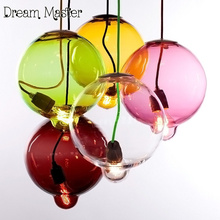 Nordic modern simple color ball glass chandelier restaurant bar creative personality transparent glass lamp free shipping(China)