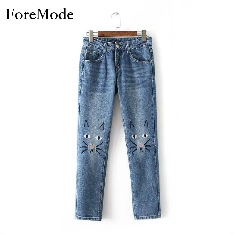 ForeMode high waisted jeans female trousers fall 2017 womens new cartoon cat embroidery loose straight student pantsОдежда и ак�е��уары<br><br><br>Aliexpress