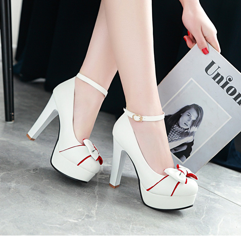 New 2018 Women's Pumps, Platform High Heels, Ankle Strap, Bow-knot 16