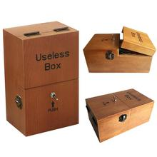 Useless Box Turns Itself Off Leave Me Alone Machine Assembled Real Prank Toys Relief Stress Jokes Gadget Brown
