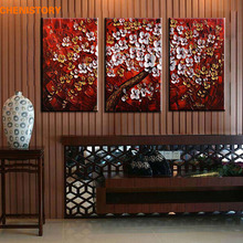 Unframed 3 Panel Handpainted Red White Flower Wishing Tree Thick Paint Palette Knife Oil Painting For Living Room Wall Artwork(China)