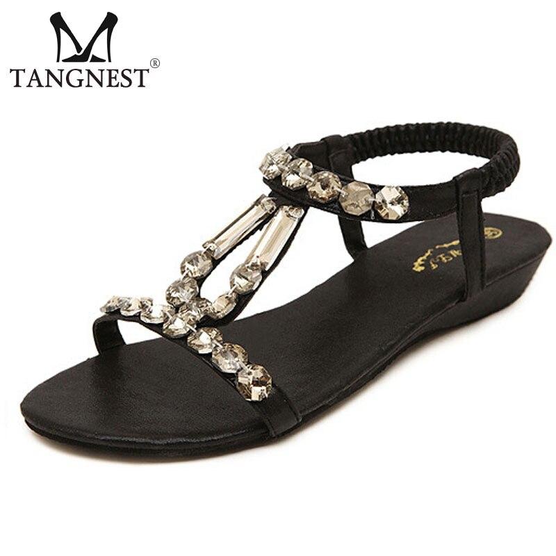 Bohemia Women Wedges Sandals 2017 Sweet Rhinestone Women Summer Sandals Soft Slippers Woman Size 34~50 Black Gold XWZ2128 <br><br>Aliexpress