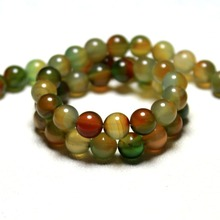High quality 6 /8 / 10 /12 mm Peacock Agat Mix Color Natural Stone Beads For Jewelry Making DIY Bracelet Necklace Strand 15''(China)