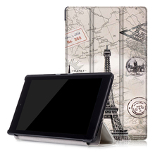 For Amazon Kindle New Fire HD 8 2016 8 inch tablet high quality print pu leather case + free gift