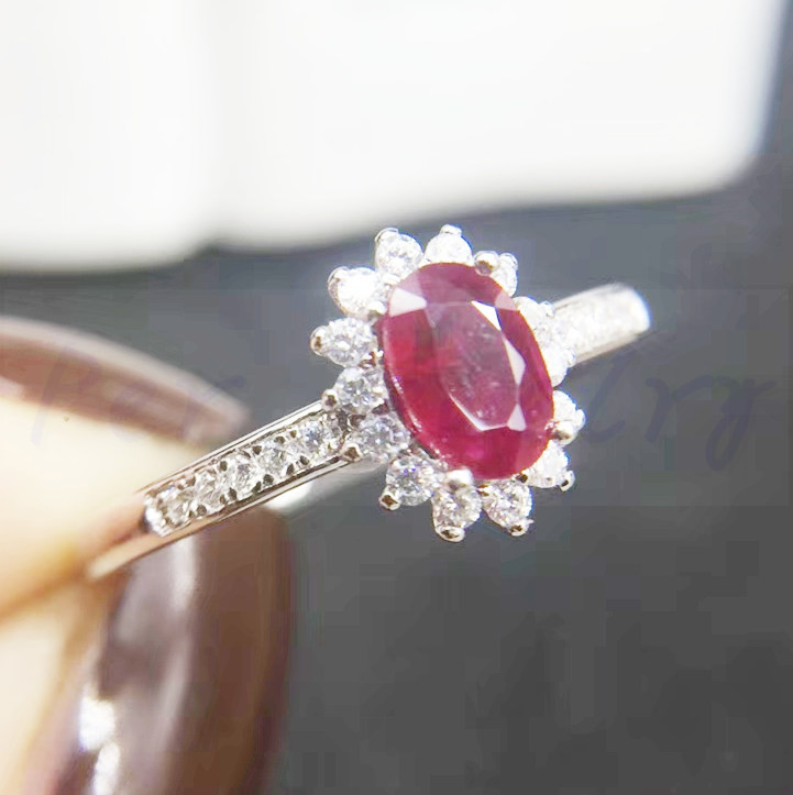 Ruby ring Free shipping Natural real ruby 925 sterling silver Fine jewelry 4*6mm 0.6CT gemstone #B18060211
