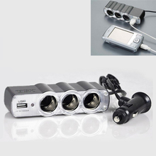 pretty DC 12v/24V 1 To 3 USB Power Supply Car Charger Adapter&Triple Cigarette Lighter Socket M30(China)