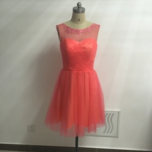 Coral Knee Length Bridesmaid Dresses Real Photos Sheer Neck Appliques Short Maid of Honor Dresses Party Dress New 2017