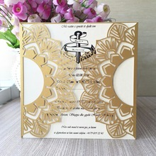 50pcs/lot Even Supplies Laser Cut Shinny Gold Wedding/Business/Party/Birthday Invitation Greeting Card Hot Sale China Factory(China)