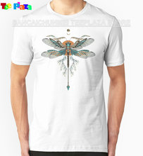 2017 Hot Sale Rushed O-neck Cotton Knitted Print Teeplaza T Shirt Design Men Short-sleeve Fashion Dragon Fly Tattoo Tee Shirts(China)