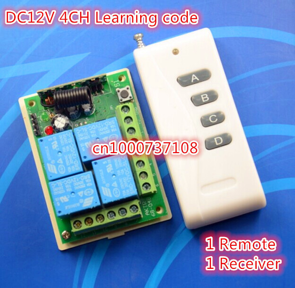 Free Shipping DC 12V 4 CH RF Wireless Remote Control Switch System,315/433 MHZ Learning cide Transmitter And Receiver<br><br>Aliexpress