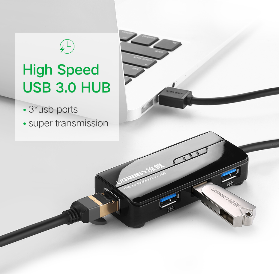Ugreen USB 3.0 Ethernet Adapter USB 3.0 2.0 to HUB RJ45 Lan Network Card for Xiaomi Mi Box Nintendo Nintend Switch USB Ethernet 4