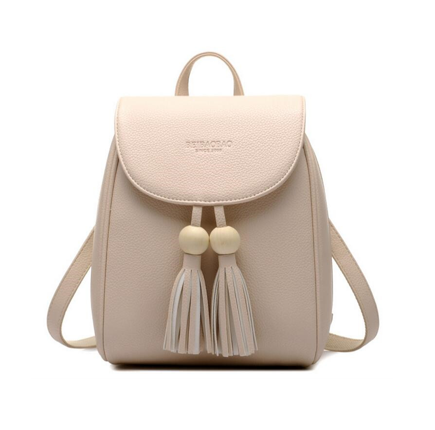 girls small leather backpack school bags for teenagers female fashion PU leather mini backpack for travel women tassel bag <br>
