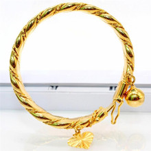 India Style Gold Color Bangle For Kids Small Cuff Bracelet For Baby Children Hang Jewelry Heart & Bell Charms Bracelet(China)