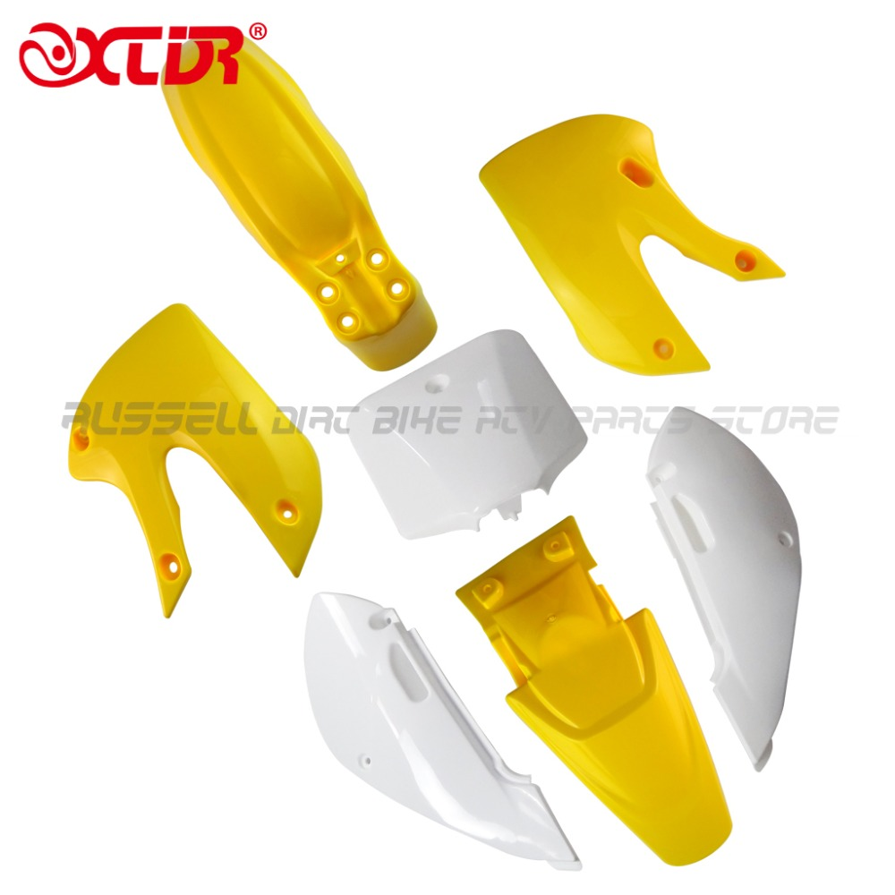High performance YELLOW4+white3 KLX110 dirt bike plastic guard fairing kits FOR KAWASAKI MOTO DIRT BIKE PARTS KX65 KLX110<br><br>Aliexpress