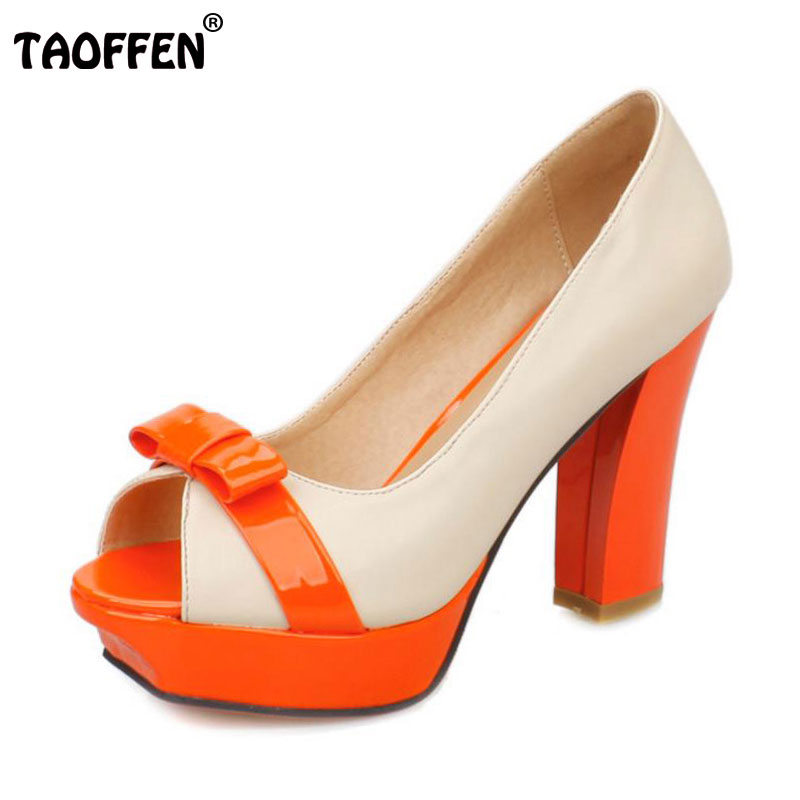 TAOFFEN Size 32-43 Women High Heel Sandals Peep Toe Bowtie Platform High Heel Sandals Party Dating Office Ladies Women Footwear<br>