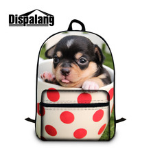 Dispalang Brand Men Women Laptop Backpack Mini Dog Print Notebook Bag Large Cotton School Bags for Boys Girls Book Bag(China)